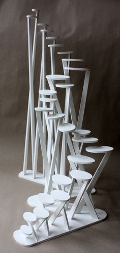 Clara Lieu, Wellesley College Art Department, Staircase Sculpture Assignment, foam board & hot glue, 2008