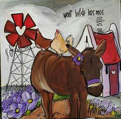want liefde kosmos niks. Pallet Painting, Fabric Painting, Rock Painting, Easy Paintings, Animal Paintings, Donkey Images, Donkey Drawing, Afrikaanse Quotes, Diy Art Projects