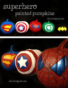 #superhero #painted #pumpkins | delicious by dre