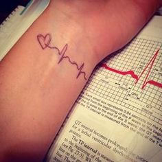 """""""It would be cute to have your babies first heart beat tatooed somewhere.""""    I totally agree. This is a great tribute to your child without going to the extreme of tattooing their names onto your body. [even though i'm pretty sure this picture is a inkpen tat]"""