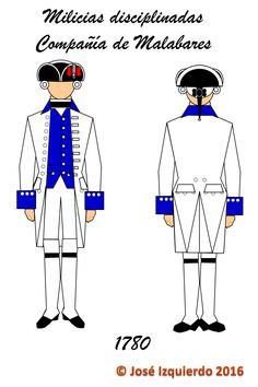 Milicias disciplinadas Compañía de Malabares, 1780