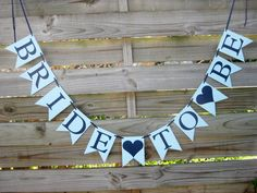 Bride To Be banner - Bridal Shower Decoration - Light Blue and Navy on Etsy, $19.25