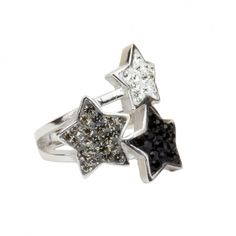 Ring 925 Sterling Silber rhodiniert mit Kristallsteinen light sapphire, montana u. capri blue