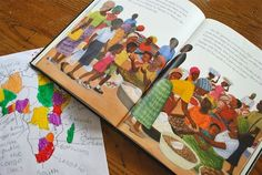 """Map the Book: """"Africa is NOT a Country."""" Such a great activity for kids to begin to realize that the immense continent Africa has 54 distinct countries. Each mini-story shows kids doing different every day activities- from going to the market, drinking tea, watching TV, or playing soccer..."""