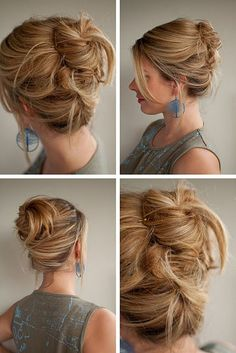 Split in half (top/bottom). Bottom upward fr twist pin. Top wrap bun pin. Easiest up-do bun ever.