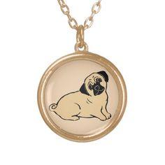 Pug Cream Necklace; ArtisanAbigail at Zazzle; Abigail Davidson Art