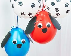 Construction paper + Balloons + Googly Eyes and Voila! Super cute DIY puppy balloons. Perfect decor for your #Paw #Patrol #Birthday #Party