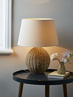 With A Scandi Inspired Woven Rattan Base, Our Unique Table Lamp Has A  Simple Oval Shape And Natural Cotton Shade. It Sits Beautifully With A  Natural Or ...