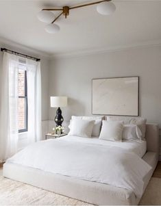 modern bedroom, minimalist bedroom, bedroom decor, home decor Serene Bedroom, Cozy Bedroom, Bedroom Colors, Home Decor Bedroom, Bedroom Neutral, All White Bedroom, Bedroom Inspo, Bedroom Curtains, Bedroom Wardrobe