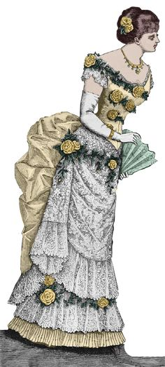 1883 Victorian Ballgown pattern - sized for you from antique originals - with bonus lingerie, accessories patterns, & library - 1880s Fashion, Edwardian Fashion, Vintage Fashion, Lingerie Patterns, Victorian Costume, Lingerie Accessories, Fantasy Dress, Fashion Plates, Fashion History