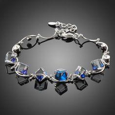 Platinum Plated Blue Crystal Bracelet
