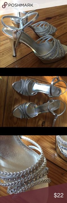 NWOT silver strappy heels Sz 8 candies silver sexy strappy heels. Never worn. candies Shoes Heels