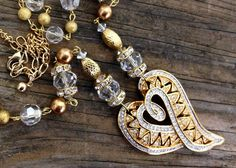 """Valentine Heart One of a Kind Artisan Repurposed Gold Rhinestone Handmade Pendant Necklace Necklace 20"""" Long by GlancingBack on Etsy"""