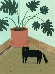 Cute Black Cat Art Print on the Rug and Beside The Plant Pot – The Sweet Home Make Black Cat Art, Cute Black Cats, Black Cat Painting, Art And Illustration, Cat Plants, Cat Art Print, Wow Art, Lovers Art, Cat Lovers