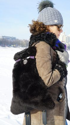 Items similar to Backpack black sheep skin and leather on Etsy Purple Leather, Black Leather, Get Fresh, Black Sheep, Black Backpack, Winter Hats, Backpacks, Unique, Etsy