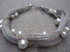Hey, I found this really awesome Etsy listing at https://www.etsy.com/listing/193498807/natural-linen-necklace-fantasy-pearls