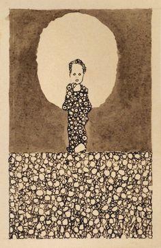 1909 Schiele Egon - Enfant avec un halo dans un champ de fleurs (4 dessins de carte postale) - Albertina - Vienna