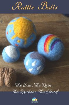 We have natural toys for toddlers in our shop - like these sensory rattle balls: the sun, the rain, the rainbow, the cloud. Cute addition to every Waldorf inspired playroom, and toddlers room. Check out our shop for more! Toddler Preschool, Toddler Toys, Mermaid Wall Decor, Nursery Decor, Nursery Art, Natural Toys, Waldorf Toys, Sensory Toys, Felt Ball