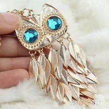 Yeni moda şık altın yapraklar baykuş charm zinciri uzun kadın kolye kolye 1dwi(China (Mainland))
