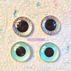 Here are some eye chips I just got finished painting. ✨ The top pair is for that wolf girl I started working on MONTHS ago! Remember her? ⚡️ Well, I'm loving her so far. The other pair is for another doll...I actually don't know which one yet. I have lots of dolls I need to start on. ✨ #Blythe #doll #painting #eyechips #blythedolleyechips