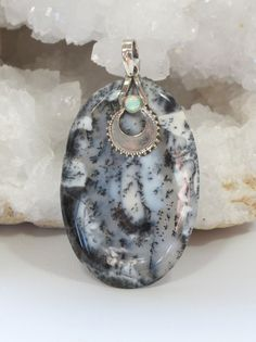 Dendritic Opal Pendant with Fire Opal 2