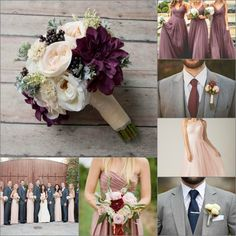 Dusty pink, mauve, grey, plum, and navy blue wedding Gray And Navy Blue Wedding, Blue Grey Weddings, Navy Wedding Colors, Dusty Pink Weddings, Dusty Rose Wedding, Winter Wedding Colors, Wedding Navy, Wedding Bouquets, Wedding Flowers