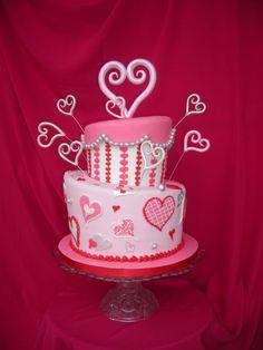 Valentines Cake - Gumpaste hearts topsy turvy Valentines Cake