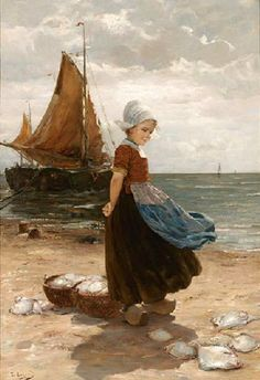 A Volendam Girl On The Beach - By Edmont Loyot (1861-1920) French