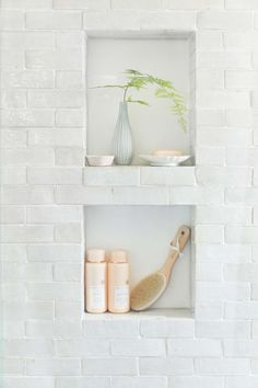 Weathered white zellige subway - if you are doing a bathroom renovation that requires opening walls, you have a chance to solve the - Bathroom Interior Design, Modern Master Bathroom, Bathroom Shower Tile, Restroom Remodel, Modern Bathroom, Shower Storage, Bathroom Shower, Bathroom Decor, Cle Tile