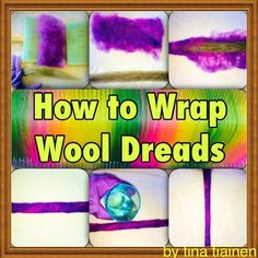 How to Wrap Wool Dreadlocks ~ Save $ by using inexpensive undyed wool as filler inside the dread ~ Recycle old dreads and give them a make-over! 1. Prepare a sheet of wool (purple) to wrap with and dry roll a strand of wool roving or use old dread (grey).  2. Wrap wool sheet around roving 3. Dry roll by hand to secure shape 4. Apply hot soapy water 5. Roll on a towel with rubber gloves until the wool felts together. Pull off excess wool or add wool to the surface to cover thin spots if…