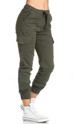 Drawstring Cargo Jogger Pants in Olive Model is wearing size medium Medium Inseam 27 inches -Waist inches inches from waist to hem cotton spandex Hand wash in cold water Made in USA SEE DETAILS. Outfit Jeans, Jogger Pants Outfit, Jogger Pants Style, Teen Fashion Outfits, Jean Outfits, Fashion Pants, Sporty Fashion, Gym Outfits, Mod Fashion
