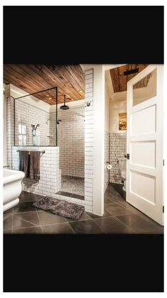 A walk-in shower creates a nice roomy feeling for your bathroom remodeling proje. A walk-in shower Bathroom Renos, Basement Bathroom, Bathroom Renovations, Bathroom Interior, Bathroom Ideas, Basement Toilet, Bathroom Organization, Restroom Ideas, Master Bathrooms