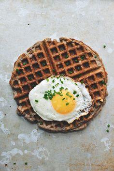 Ham and Cheese Buckwheat Waffles