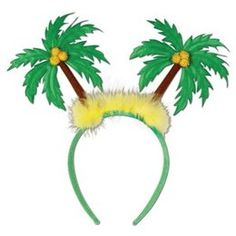 Diadeem met palmbomen -  Een luxe diadeem met 2 stoffen palmbomen. Leuke gadget voor tijdens een tropisch feest. | www.feestartikelen.nl