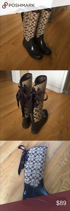 Coach Tristee Rain Boots Coach Tristee in brown signature c pattern. Worn once so still in mint condition. Have box. Coach Shoes Winter & Rain Boots
