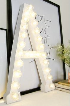 Marquee light Letter tutorial grey likes nesting for landeelu dot com roundup