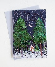 Write a thoughtful note, send a party invite, or wish happy holidays in this unique blank card! This premium semi-gloss acid free greeting card features a print of an original fl 3d Christmas, Christmas Sewing, Christmas Gifts For Her, Christmas Decorations, Art For Kids, Crafts For Kids, Silent Night, Diy Weihnachten, Nature Crafts