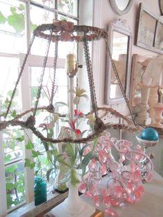 Bohemian shabby chic vintage lamp shade prairie cottage