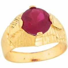 10k Real Gold Round Synthetic Ruby July Birthstone Designer Baby Ring Jewelry Liquidation. $99.17. Comes with FREE fancy black leatherette ring box!. Made with Real 10k Gold!. Made in USA!