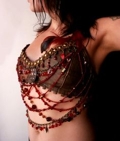 Kali's Teardrops brown leather halter bra / bustier top decorated with brass and red glass