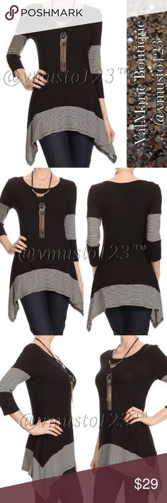 "Asymmetrical Stripe Tunic Top MADE IN USA - PREMIUM COLLECTION  GORGEOUS TOP!!! SUPER SOFT Stripe/color block, long body 3/4 sleeve top in a relaxed style with a crew neck and an asymmetric hem  CASUAL SLIGHTLY FLOWY FIT, LOOKS SO GOOD ON!  *Model wearing size S- 32Bx25Wx35H and height is 5' 9""  95% RAYON, 5% SPANDEX  M(6-8) L(10-12) XL (14-16)  ‼️PRICE IS ABSOLUTE FIRM‼️ PLEASE KEEP IN MIND MADE IN USA CLOTHING COSTS AND POSH FEES. ValMarie Boutique Tops"