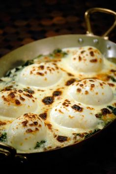 Mollet Eggs Florentine by Jaques Pepin. Oh My Gawd! Easy, low cal, and looks amazingly yummy!