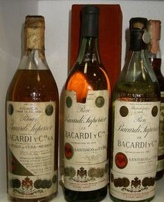 The original Bacardi, produced in Santiago de Cuba, Cuba, before 1960.  In the city still preserved up and producing the original distillery of this brand dating back to 1862.