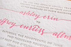 Ashley + Jeff's Modern Chic Neon Pink Wedding Invitations