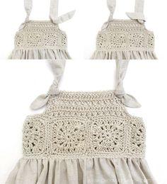 Vestido Granny Squares de Bebé combinado con Tela Cómo hacer un vestido de granny squeres de bebé combinado con tela DIY - Tutorial y Patrón