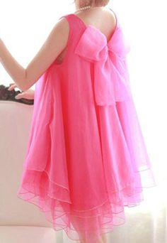Rose Red Bowknot Layered Loose Fit Mini Flared Tank Tulle Dress [grzxy6601237]