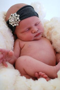 Antique crystal headband, baby girl