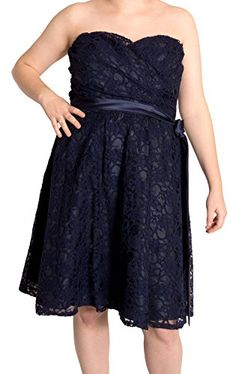 Marina Strapless Belted Lace Dress, (12) only $63 (was $149) #strapless #formal #navy #dress