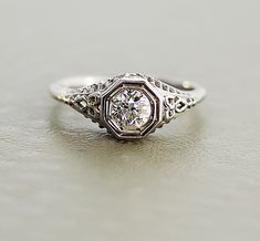 Antique Diamond Ring  Edwardian 18k White Gold by SITFineJewelry, $4,650.00