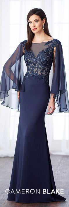 Formal Evening Gowns by Mon Cheri - Fall 2017 - Style No 217638 - navy blue evening dress with beaded lace bodice and illusion 3/4 length draped sleeves